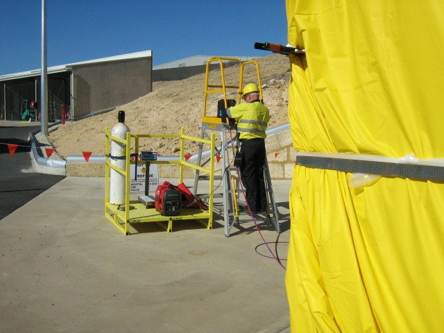 Preparing for fumigation on commercial site
